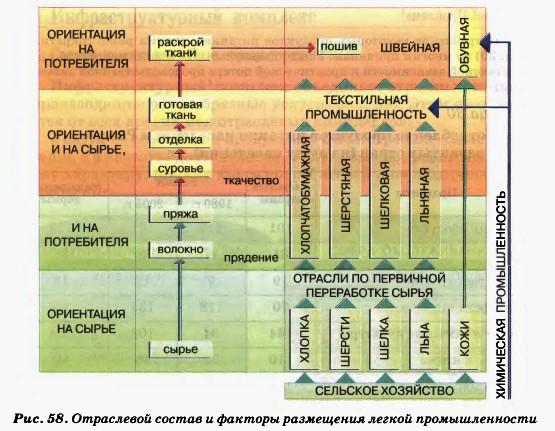 Пищевая и легкая промышленность Гипермаркет знаний Отраслевой состав и факторы размещения легкой промышленности