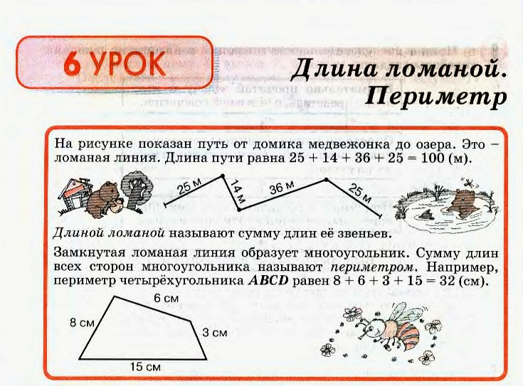 Конспект урока по математике 2 класс длина ломаной