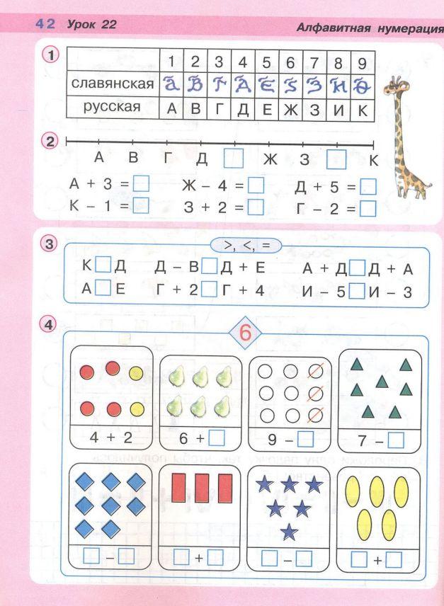 Конспект урок математики в 1 классе по петерсон алфавитная нумерация