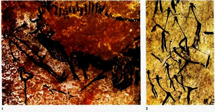 Живопись искусство цвета Гипермаркет знаний Наскальная живопись Раненый бизон и мертвый охотник Пещеры Ласко Франция